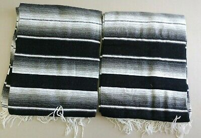 TWO PIECE SARAPE SET ,5' X 7',Mexican Blanket,HOT ROD, XXL, Black and white
