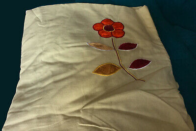 A 140cm x 2.5m Length of Beige Corse Cotton with Appliqué Flush Flowers