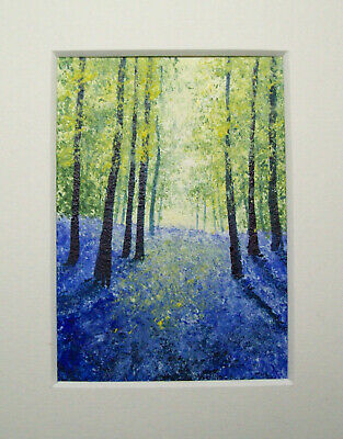 Original The Bluebell Woods Signed Landscape Miniature Aceo Painting