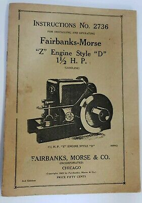 Antique FAIRBANKS MORSE Z Style ENGINE D 2736 Rare Book Catalog ORIGINAL! Pics