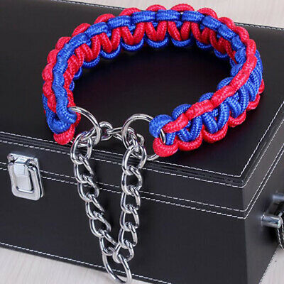 Nylon Traction Rope Braided Leash Dog Lead Collar Dual Colors Training Strap New
