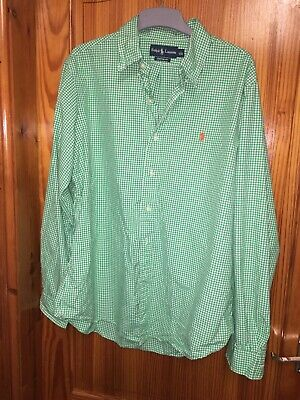 Ralph Lauren Long Sleeved Shirt Boys Size Xl Age 18/20 Green White Checked S-M