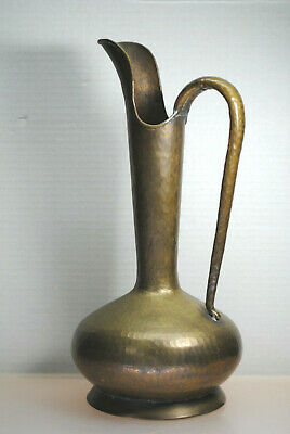 "Antique Late 1800'S Hammered Brass Or Copper Pitcher Italy 14-3/4"" Tall"