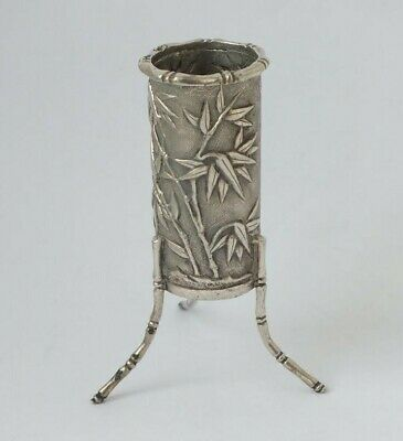 """Antique Chinese Solid Silver """"Bamboo"""" Toothpick Holder c. 1900/ H 6.9 cm"""