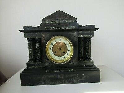 Antique Vintage Onyx Slate Mantel Clock Marble Gilt With Pillars Very Heavy Rare