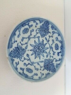 """Antique Blue China Plate, Made in China, Used, Very Old, 5 5/8"""" across"""