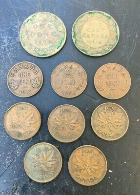 Lot 10 Canada 1c Penny coins 1908 1916 1920 1931 1932 1940 1943 1945 1957 NICE!