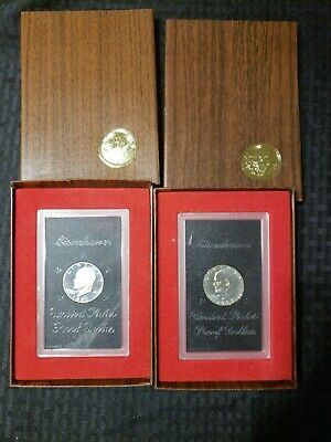 Lot of 2 - 1971S & 1973S  U.S. Silver Eisenhower Dollar Proof In Box & Sealed