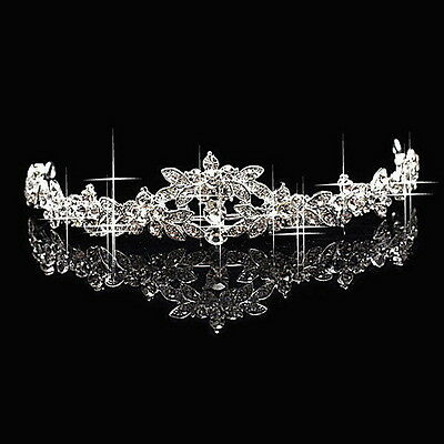 Classic Sparkly Crystal Rhinestone Crown Tiara Wedding Prom Bride's Headband mu