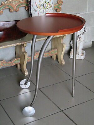 Small Table with Trolley Wheels Design Italian Wooden & Steel Period Xx Century