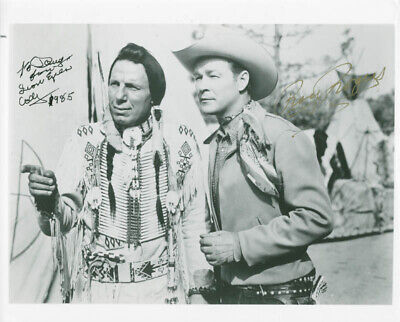 Iron Eyes Cody - Autographed Inscribed Photograph 1985 Co-Signed By: Roy Rogers
