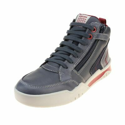 Geox Perth Boy Boys Navy-Dark Red Boot size eu kids children zip leather