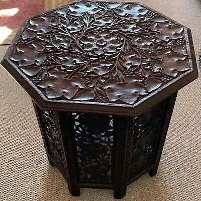 Large Carved Arts & Crafts Octagonal Lacquered Side Table Liberty Style c.1900