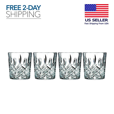 Set of 4 Double Old Fashioned Glasses Waterford Markham Scotch Whiskey Crystal