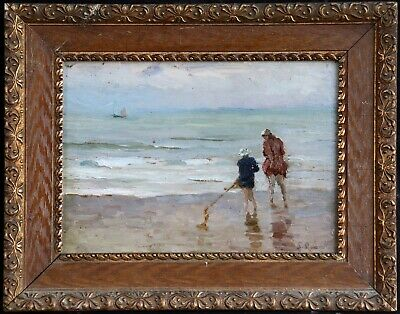 c. 1920 FRENCH IMPRESSIONIST OIL ON BOARD - MOTHER & CHILD SHRIMPING - SIGNED?