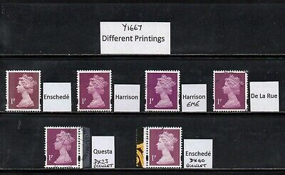 SG Y1667 1p Machin Different Printings - Fine Used