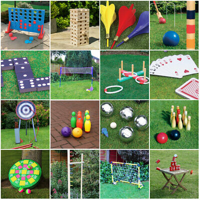 Giant Outdoor Garden Games Summer BBQ Parties Kid's Family Jenga Skittles Cards