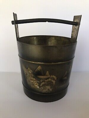 "Brass Asian Japan Chinese Scenery Pail Bucket heavy Handle 6.15"" L 5"" W Vintage"