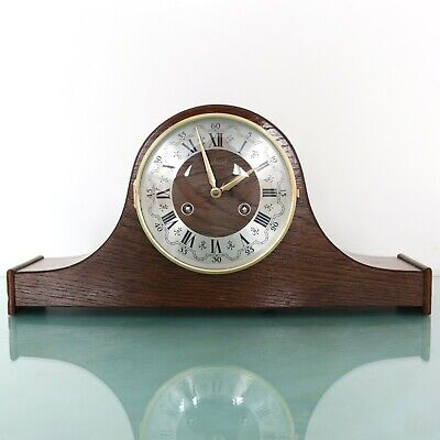 WARMINK Vintage Mantel Clock DARK WOOD! Mid Century 3 BAR CHIME! Dutch SERVICED!
