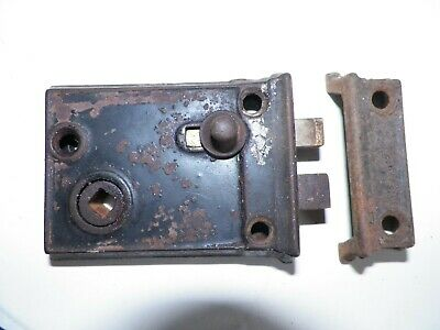 Antique Door Lock Privacy Rim Lock Slide Deadbolt Keeper Cast Iron Small Works