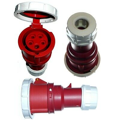 16A 5 Pin Coupler IP67 Waterproof 3P+N+E 380 - 415V Fast-Fit 16 Amp Red 3 Phase