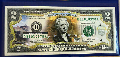 2003 $2 Jefferson Dollar Bill Grand Canyon Commem Obverse Colorized with COA
