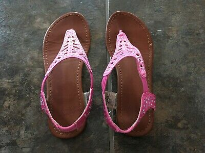 Girls FADED GLORY Sandals Shoes Size 4 Pink Sparkle T-Strap Slip-On