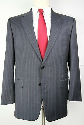 Hickey Freeman Madison Blue Striped Two Button Wool Suit 42 REGULAR 35 29 42R