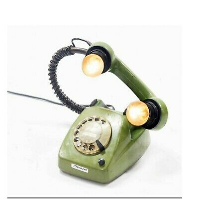 Vintage Retro Dial Telephone Industrial Up-Cycled Table Desk Lamp Spot Light
