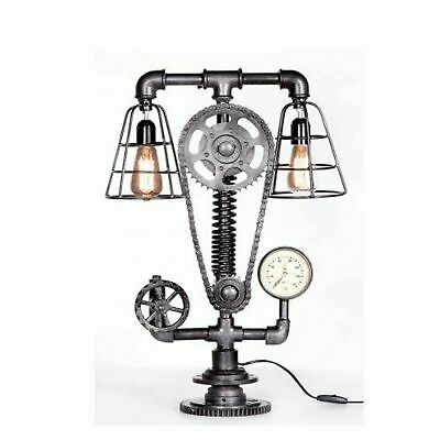 Vintage Cogged Chain Gauge Industrial Up-Cycled Table Desk Top Lamp Steampunk