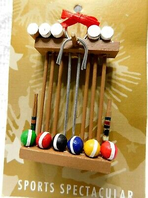 CROQUET SET OLD WORLD CHRISTMAS GLASS GROUND BILLIARDS GAME ORNAMENT NWT 44135