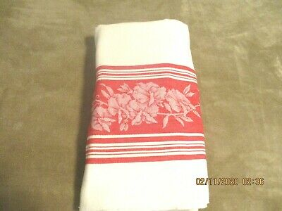"""VINTAGE WHITE DAMASK TABLECLOTH with  Red FLOWER BORDER 54"""" by 58"""""""