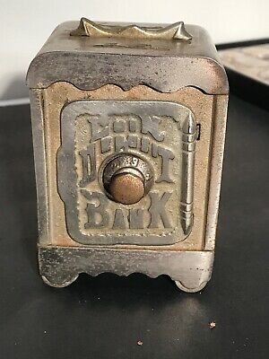Vintage Cast Iron Coin Deposit Bank Combination Door Safe Penny Still Bank