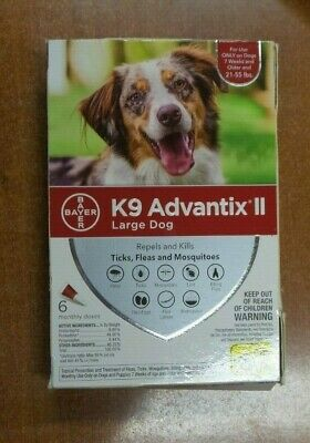 K9 Advantix II for Large Dogs 21-55 lbs 6 Pack Sealed