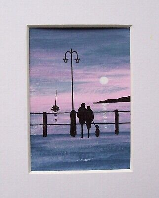 Original Watching The Sunset 2# Signed Landscape Miniature Aceo Painting