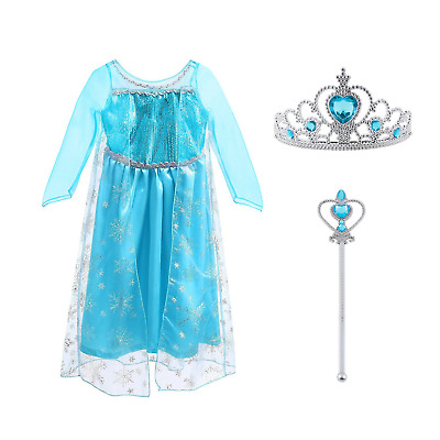 Vicloon Ice Queen Elsa Princess Deluxe Fancy Costume Snowflakes Dress with Elsa