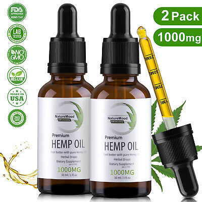 2 Pack Organic Pure Hemp Oil Drops for Pain Relief,Anxiety,Stress,Sleep 1000mg