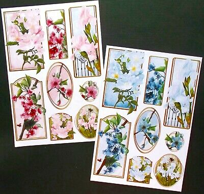 Floral Card Toppers X 16 Mixed Pieces You Cut & Create X 2 Sets Pink & Blue