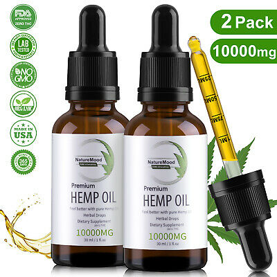 2 Pack Organic Pure Hemp Oil Drops for Pain Relief,Anxiety,Stress,Sleep 10000mg