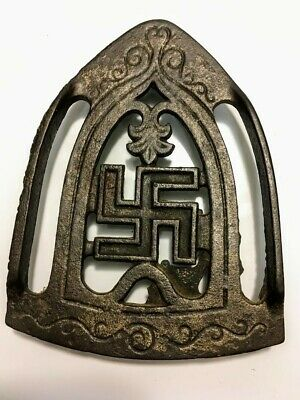 Antique RARE Cast Iron TRIVET SWASTIKA SYMBOL Footed Early 1900s Collectible Art