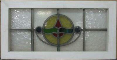 "MIDSIZE OLD ENGLISH LEADED STAINED GLASS WINDOW Circular Design 25.75"" x 13.25"""