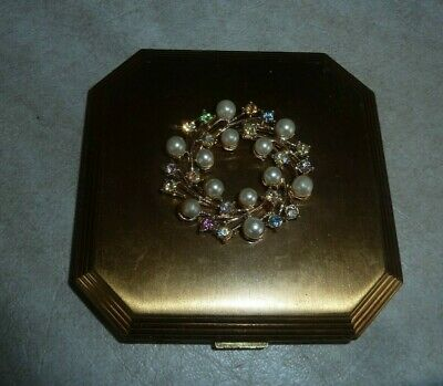 Vintage Volupte Compact With Pearls And Set Stones