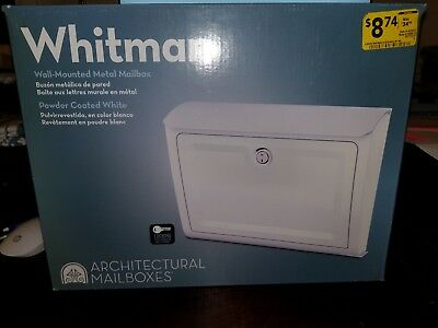 "Whitman Architectural Wall Mounted Mailbox 14"" W x 10.7"" H Metal White Lockable"