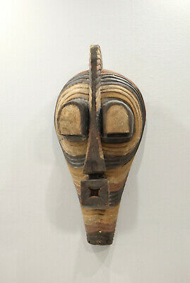 African Mask Songye Male Brown Wood Cong