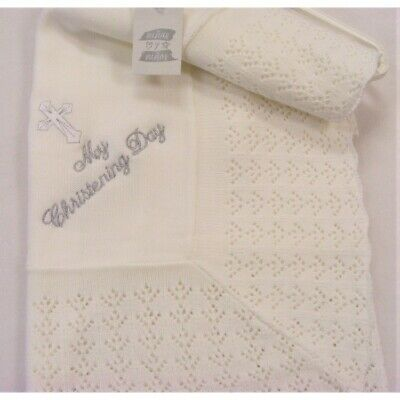 Baby Spanish Romany Knitted Christening Shawl Blanket Silver Embroidered Cross