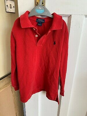 Boys Ralph Lauren Red Long Sleeved Top Polo Age 5 Years