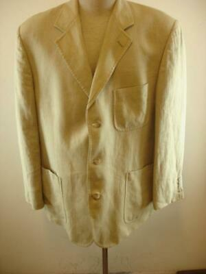 Mens sz 43R Brooks Brothers Khaki Tan 100% Linen Suit Jacket Blazer Summer Tweed