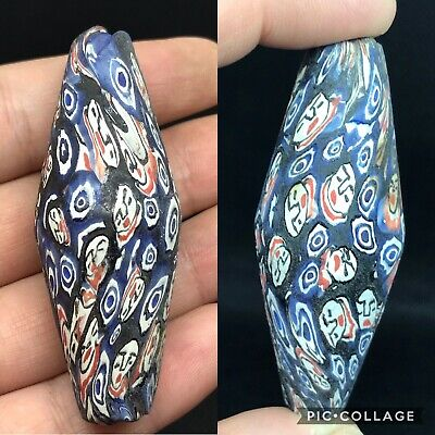 Unique wonderful phonensian mosaic glass old face bead