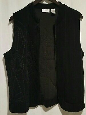 Chico's Travelers Womens Black Embroidered Slinky Spandex Zip Up Vest Size 0