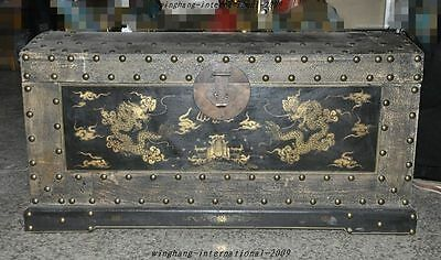 "huge old Chinese Ancient dynasty official lacquerware wood dragon beast ""镖""boxes"
